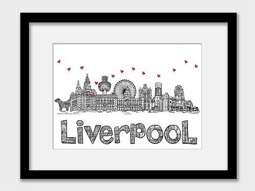 Liverpool skyline landmark print, black white, home is where the heart is