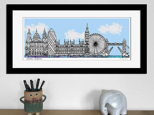 London landmarks skyline art print (Blue)