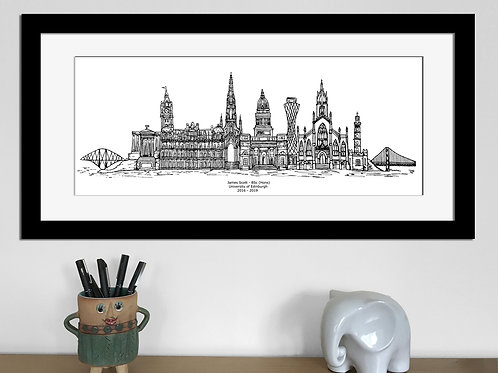 Edinburgh Graduation print, Black and White, Edinburgh University gift