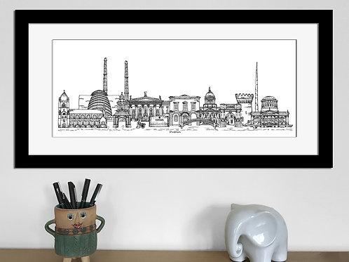 Dublin skyline art print, Black and White, Dublin landmarks