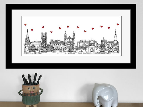 Cambridge skyline art print, Home is where the heart is, Cambridge landmarks