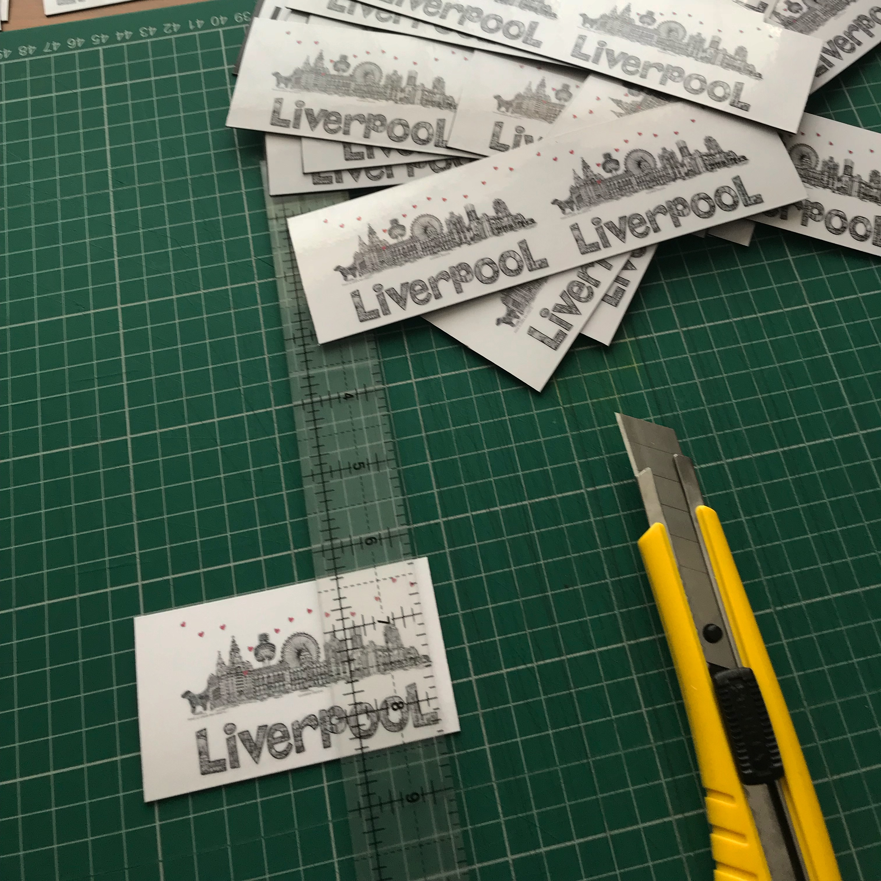 Cutting out magnets of Liverpool skyline