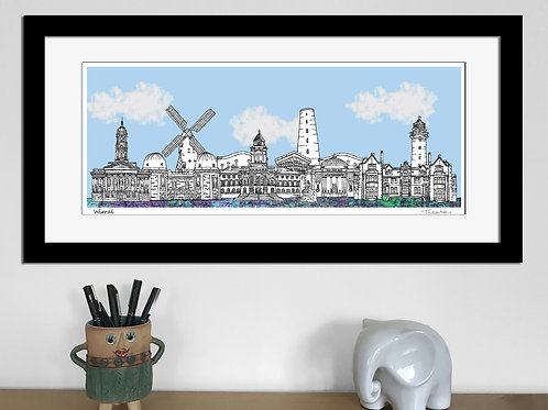 Wirral landmarks skyline art print (Blue)