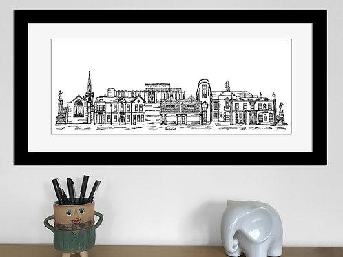 Prescot skyline art print, Black and White, Prescot landmarks