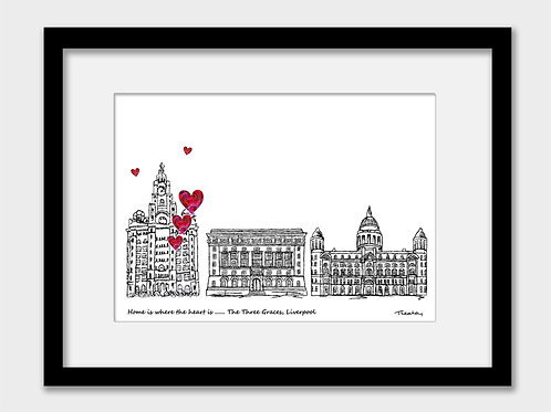 Liverpool Three Graces Print, Home is Where the Heart is