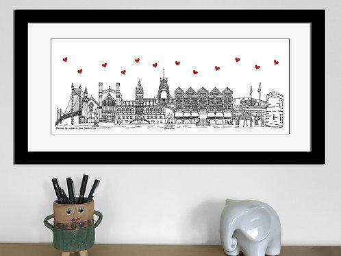 Chester skyline art print, Home is where the heart is, Chester landmarkss