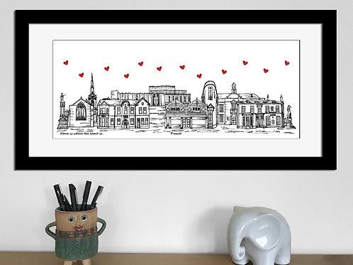 Prescot skyline art print, Home is where the heart is, Prescot landmarks
