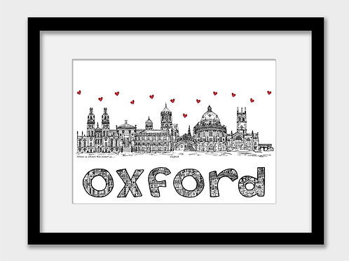 Oxford landmarks print, black and white, Home is where the heart is
