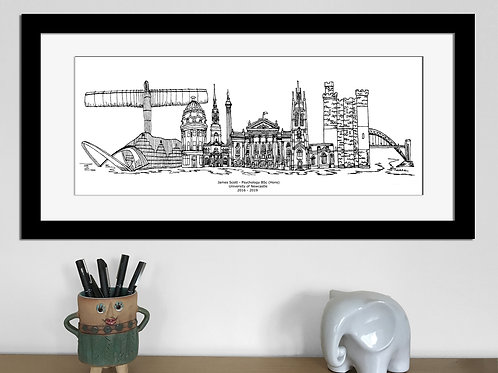 Newcastle Graduation print, Black and White, Newcastle University gift