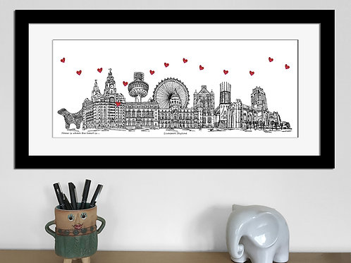 Liverpool skyline art print, Home is where the heart is, Liverpool landmarks
