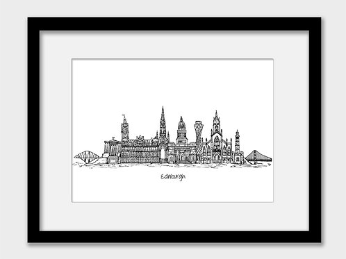 Edinburgh print, black and white