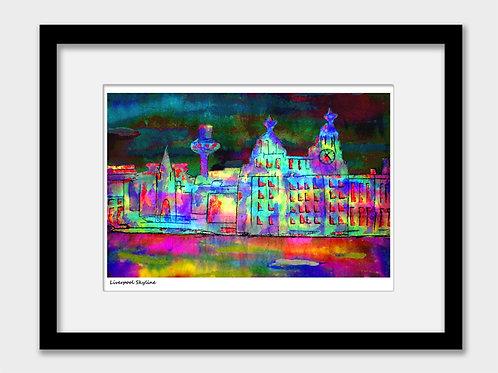 Liverpool Skyline at Night Print