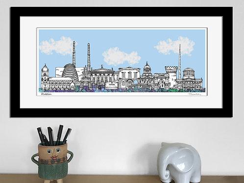Dublin landmarks skyline art print (Blue)