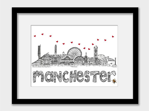 Manchester landmarks print with bee, black and white, Home is where the heart is