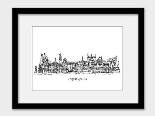 Kingston upon Hull print, black and white