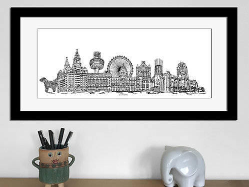 Liverpool skyline art print, Black and White, Liverpool landmarks