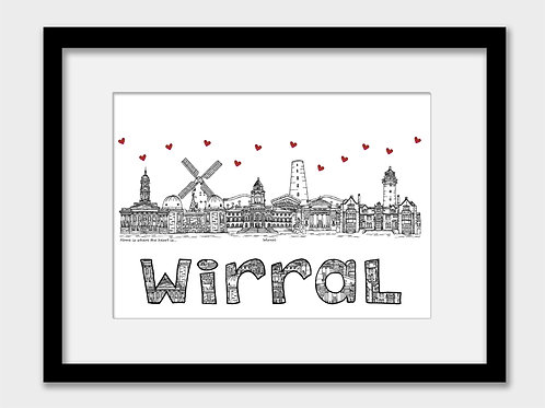 Wirral landmarks print, black and white, Home is where the heart is