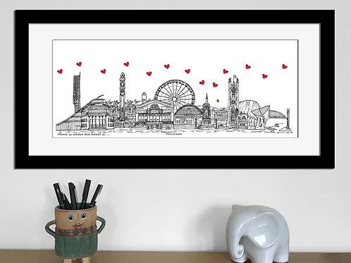 Manchester skyline art print, Bee, Home where the heart is, Manchester landmarks
