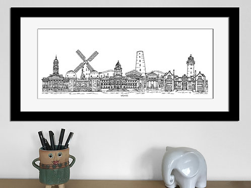 Wirral skyline art print, Black and White, Wirral landmarks