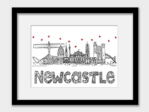 Newcastle landmarks print, black and white, Home is where the heart is