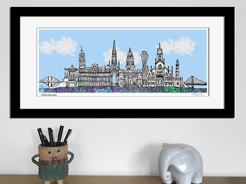 Edinburgh landmarks skyline art print (Blue)