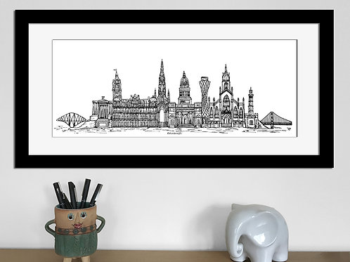 Edinburgh skyline art print, Black and White, Edinburgh landmarks