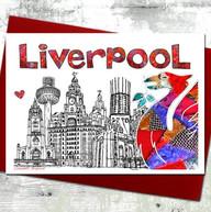 Liverpool skyline with bird card - tina