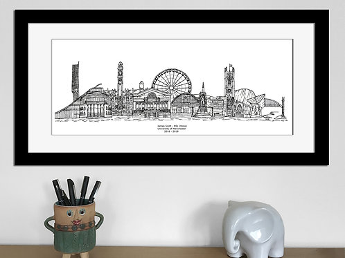 Manchester Graduation print, Bee,  Black and White, Manchester University gift