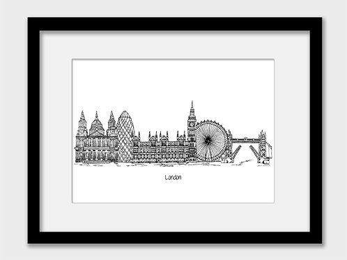 London print, black and white