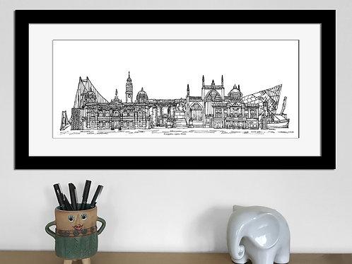 Kingston upon Hull skyline art print, Black and White, Hull landmarks
