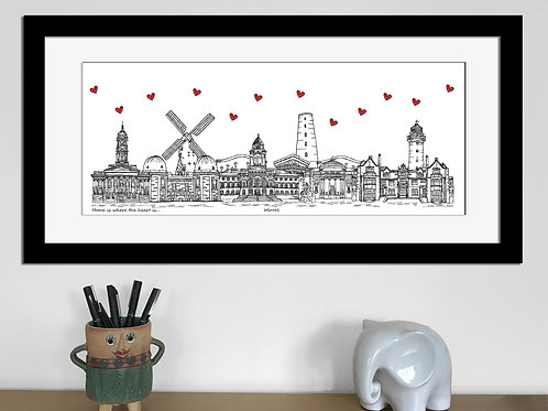 Wirral skyline art print, Home is where the heart is, Wirral landmarks