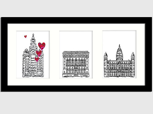 Three Graces Long Print - Liver Building, Cunard Building, Port of Liverpool