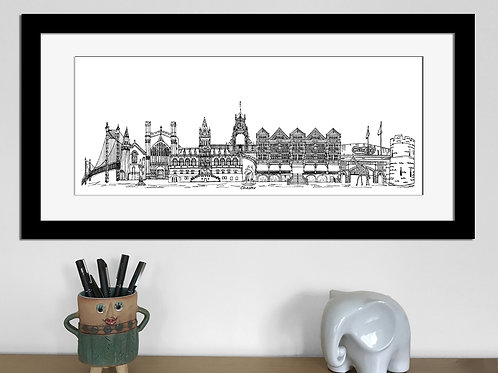 Chester skyline art print, Black and White, Chester landmarks
