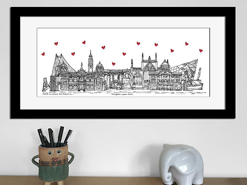 Kingston upon Hull skyline art print, Home is where the heart is, Hull landmarks