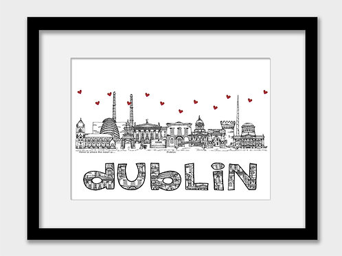 Dublin landmarks print, black and white, Home is where the heart is