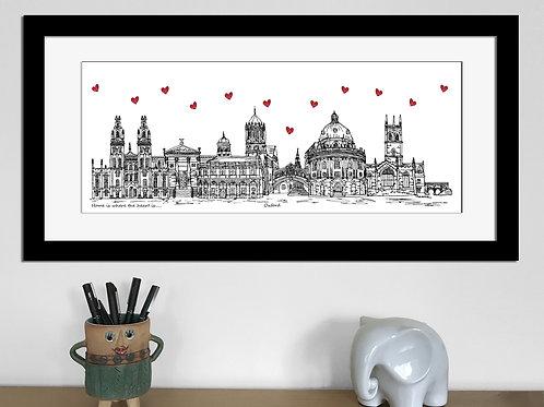 Oxford skyline art print, Home is where the heart is, Oxford landmarks