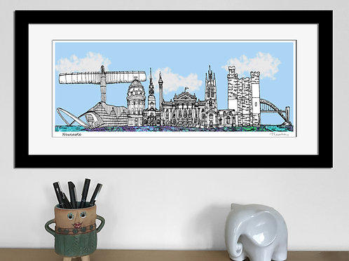 Newcastle landmarks skyline art print (Blue)