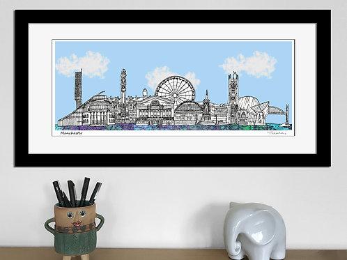 Manchester landmarks skyline art print (Blue)