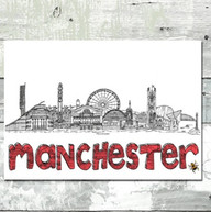 Manchester bw bee skyline red wording