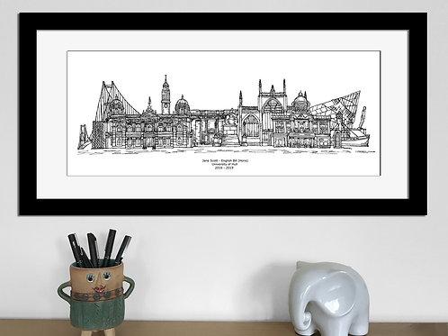 Kingston upon Hull Graduation print, Black and White, Hull University gift