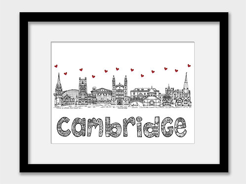 Cambridge landmarks print, black and white, Home is where the heart is
