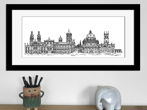 Oxford skyline art print, Black and White, Oxford landmarks