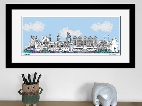 Chester landmarks skyline art print (Blue)