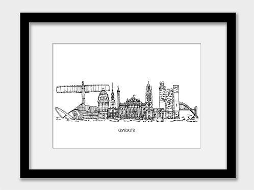 Newcastle print, black and white