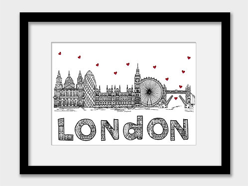 London landmarks print, black and white, Home is where the heart is