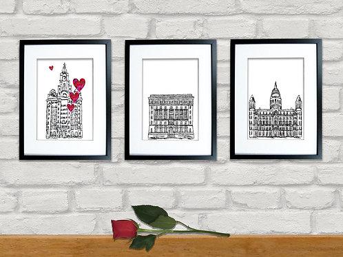 Set of 3 Liverpool Landmark Prints, Three Graces