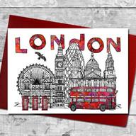 London skyline card with bus/tina leahey