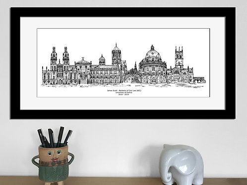 Oxford Graduation print, Black and White, Oxford University gift