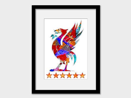 Liverpool FC Liver Bird Print, YNWA, 6 Stars