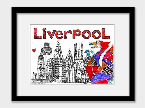Liverpool Print with Liver Bird